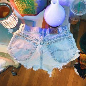 Pants - size 00 lightwash denim distressed cutoff shorts